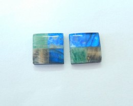 5 Kinds Of Stone Combination Cabochon Pair-Natural Blue Flash Labradorite,L