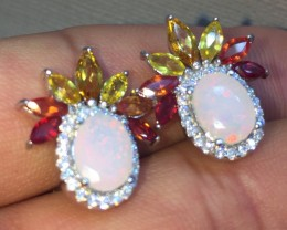 Splendid Nat 23.5tcw. Fire Opal Sapphire &CZ Earrings Untreated