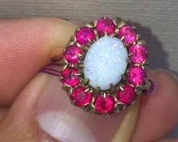 Wonderful $2300 Nat 3.0ct Aus Opal &Ruby Ring 10K Sol Ylw Gold