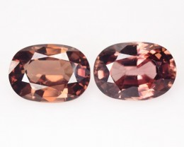 9.89 Cts Natural Brown Zircon Oval Cut 2 Pcs Cambodian Gem