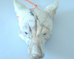 Christmas Decoration,Large Natural Howlite Handcarved Wolf Head Necklace Pe