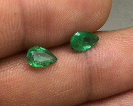 Brilliant 1.23tcw. Pear Cut Colombian Emerald Pair Untreated