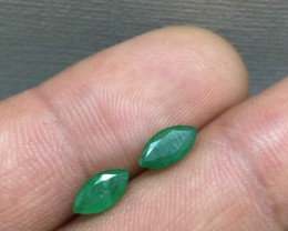 Spectacular Matching Pair 1.23tcw Colombian Emeralds Untreated!