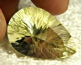 34.66 Carat VVS1 Concave Lemon Quartz - Gorgeous