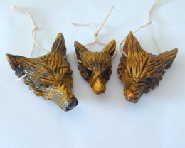 Specialoffer Sell 3pcs Natural Tiger Eye Handcarved Wolf Head Necklace Pend