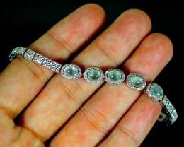 50.0Ct Burmese Type-A Jadeite Jade 925 Silver Bracelets