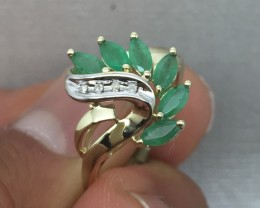 Cert. $1250 Nat 1.23cts. Emerald & Diamond Ring 10K Solid Ylw Gold Untr