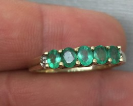 Amazing Cert. $1400 Nat 1.20cts Emerald &Diamond Ring Solid Gold
