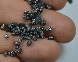 17pcs 1.68 Cts 2-4 mm Natural Black Tumbles Rough Loose Diamond Beads