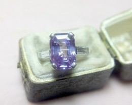 Unheated 4.07ct Purple Sapphire Platinum Ring