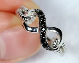 NR Lot 01 ~ 15.71Ct Natural Black Spinel 925 Sterling Silver Ring Sz6