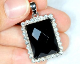 NR Lot 02 ~ 57.28Ct Natural Black Onyx 925 Sterling Silver Pendant