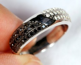 NR Lot 04 ~ 25.6Ct Natural Black Diamond 925 Sterling Silver Ring Sz7