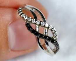 NR Lot 08 ~ 11.38Ct Natural Black Spinel 925 Sterling Silver Ring Sz6.5
