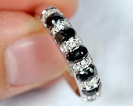 NR Lot 10 ~ 20.97Ct Natural Black Diamond 925 Sterling Silver Ring Sz7