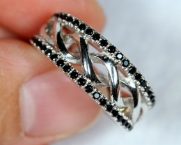 NR Lot 11 ~ 29.60Ct Natural Black Spinel 925 Sterling Silver Ring Sz6.5