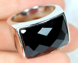 NR Lot 12 ~ 61.75Ct Natural Black Onyx 925 Sterling Silver Ring Sz10.5