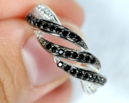 NR Lot 13 ~ 18.90Ct Natural Black Spinel 925 Sterling Silver Ring Sz6.75