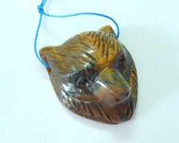 Hot Sale!!! Sell 58CT Natural Golden Tiger Eye Handcarved Bear Head Necklac
