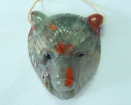 Bear Head Pendant,39X34X14MM Natural African Blood Jasper Handcarved Bear H