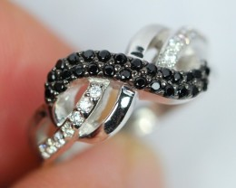 19.70Ct Natural Black Spinel 925 Silver Ring Sz4.75