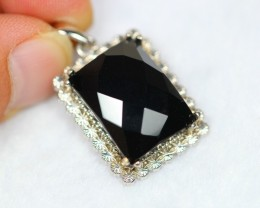 57.49Ct Natural Black Onyx 925 Silver Pendant