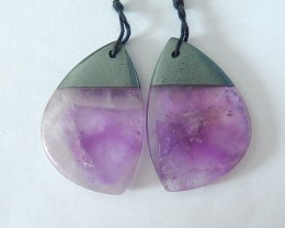 New Design!38ct Natural Amethyst and Hematite Intarsia Earrings For Women,F