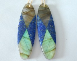 41ct Natural Flashy Labradorite and Lapis Lazuli Intarsia Oval Earrings For