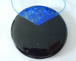 50x8mm Natural Lapis Lazuli and Obsidian Intarsia Round Necklace Pendant(17