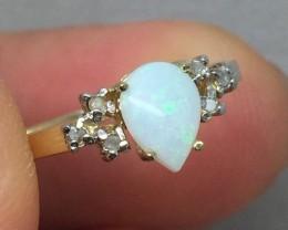 Wonderful $900 Nat 0.80cts White Opal &Diamond Ring 14K Solid Gold