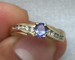 Stunning $2100 Nat 0.65ct Tanzanite &Diamond Ring 10K Sol Ylw Gold