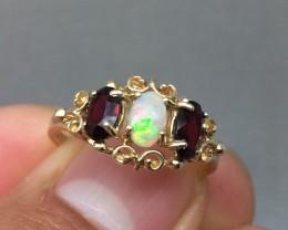 Wondrous $1450 Nat 1.35ct. Opal & Garnet Cocktail Ring 10k Solid Ylw Go