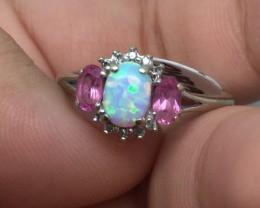 Gorgeous $1600 Nat 0.90ct Opal &Diamond Ring 10K Sol Wht Gold