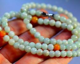 156.0Ct Genuine Burmese Type-A Jadeite Jade 68-Beads Necklace