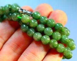 243.0Ct Genuine Burmese Type-A Jadeite Jade 68-Beads Necklace