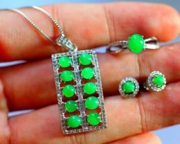 46.5Ct 925 Silver Necklaces, Earrings, Rings Jadeite Jade