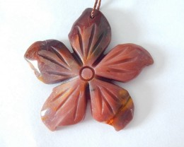 Flower Pendant,Natural Mookite Jasper Handcarved Flower Necklace Pendant, F