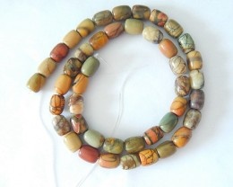 8x8x7mm Natural Muti Color Picasso Jasper Drum Loose Beads,41cm In The Leng
