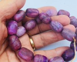 Natural polished purple Agate strand beads GOGO1794