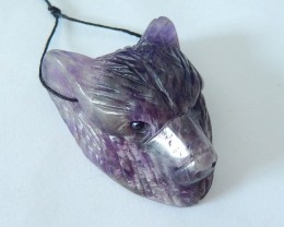 Bear Head,Natural Dark Amethyst Handcarved Bear Head Necklace Pendant ,Spir