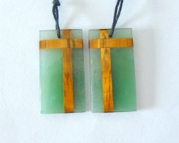 New Design,Colorful Earrings,Natural Green Aventurine and Tiger Eye Intarsi