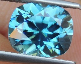 3.92cts, Blue Zircon,  Precision Cut,  Properly Orientated C axis
