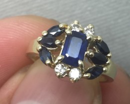 Vintage Designer $3300 1.35ct Nat Blu Sapphire & Diamond Ring Untreated