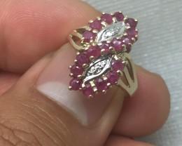 Wonderful $1900 1.00cts Vintage Ruby & Diamond Cluster Ring
