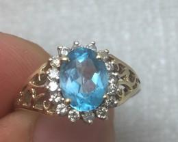 Superb $1600 Nat 1.25cts Blue Topaz &Diamond Ring Untreated
