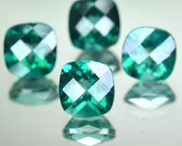 4.91 Cts Rare Green Topaz 6 mm Cushion 4 Pcs Parcel