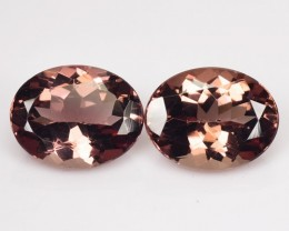 ~RAREST~ 3.76 Cts Natural Brownish Pink Apatite (9x7 mm) Oval 2 Pcs Brazil