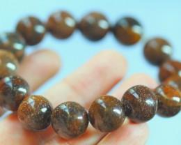 266.65Ct Natural petrified wood 15-Bead Bracelet