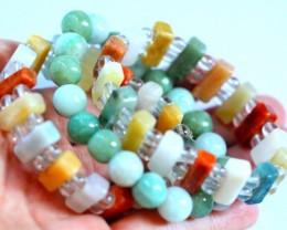 452.5Ct Natural Grade A Mixed Color Jadeite Jade 3Pcs Bracelet