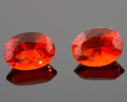 1.25 CTW MEXICAN FIRE OPAL PAIR!  MASTER CUT!  FLAWLESS!